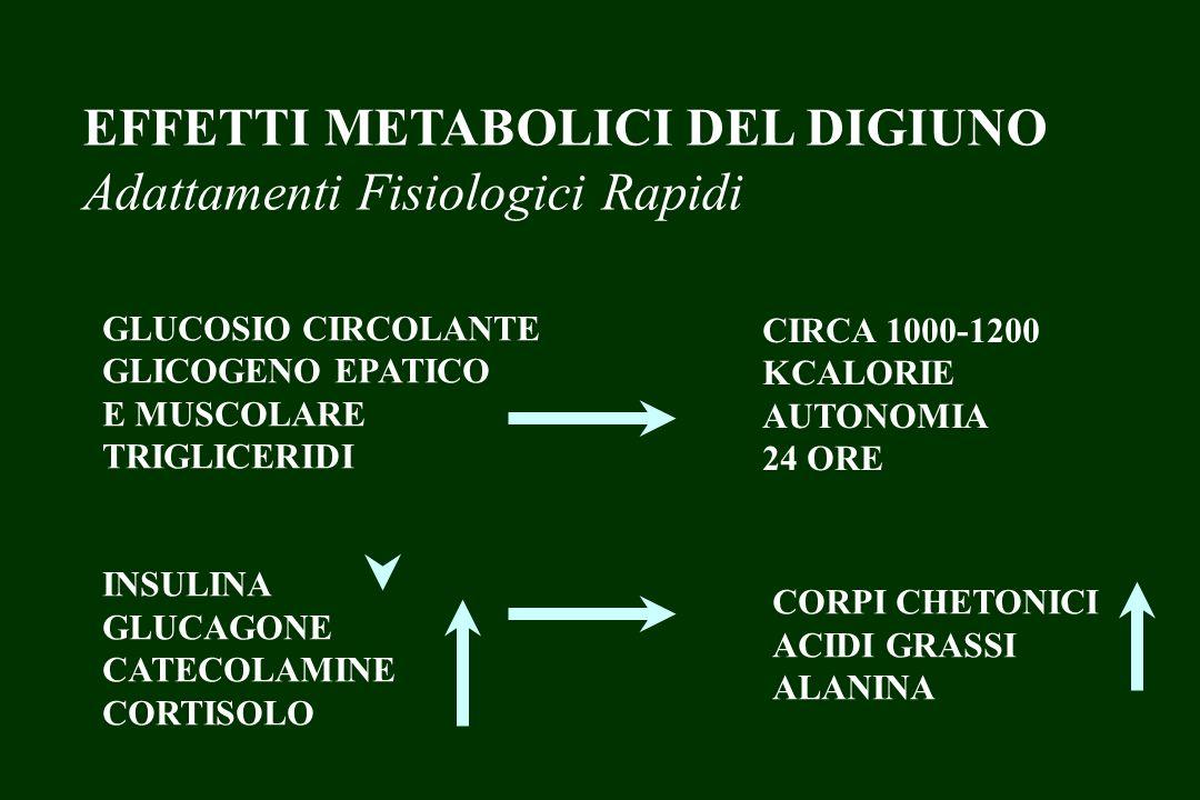EFFETTI METABOLICI DEL DIGIUNO Adattamenti Fisiologici Rapidi TESSUTO CEREBRALE GLICOLISI PROTEINE CONSUMO DI GLUCOSIO O SUBSTRATI CONVERTIBILI IN GLUCOSIO
