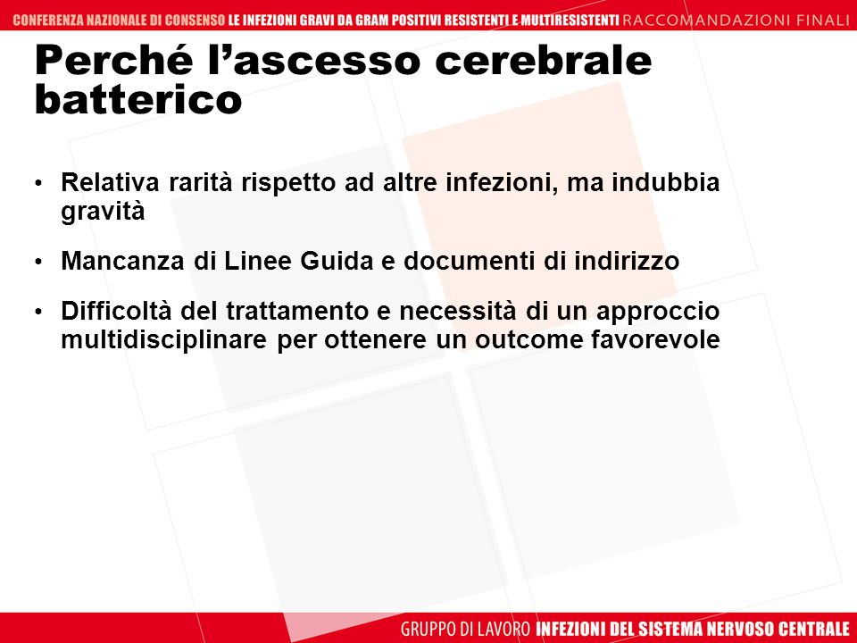 Stringhe di ricerca Quesito 2 Brain Abscess/surgery [MAJR] AND (( 1 [PDat]: 2008/06/30 [PDat])) 392 di cui 35 review Brain Abscess AND Surgery AND (( 2008/07/01 [PDat]: 2008/09/20 [PD at])) 9 di cui 2review Brain abscess/surgery [MAJR] NOT Tuberculosis 199 di cui 29 review ((Brain OR intracerebral OR intracranial OR cerebral) AND abscess) AND (surgical treatment OR Operative surgical procedures) NOT Tuberculosis 7 Qual è il miglior approccio chirurgico in termini di outcome nel trattamento dellascesso cerebrale batterico?