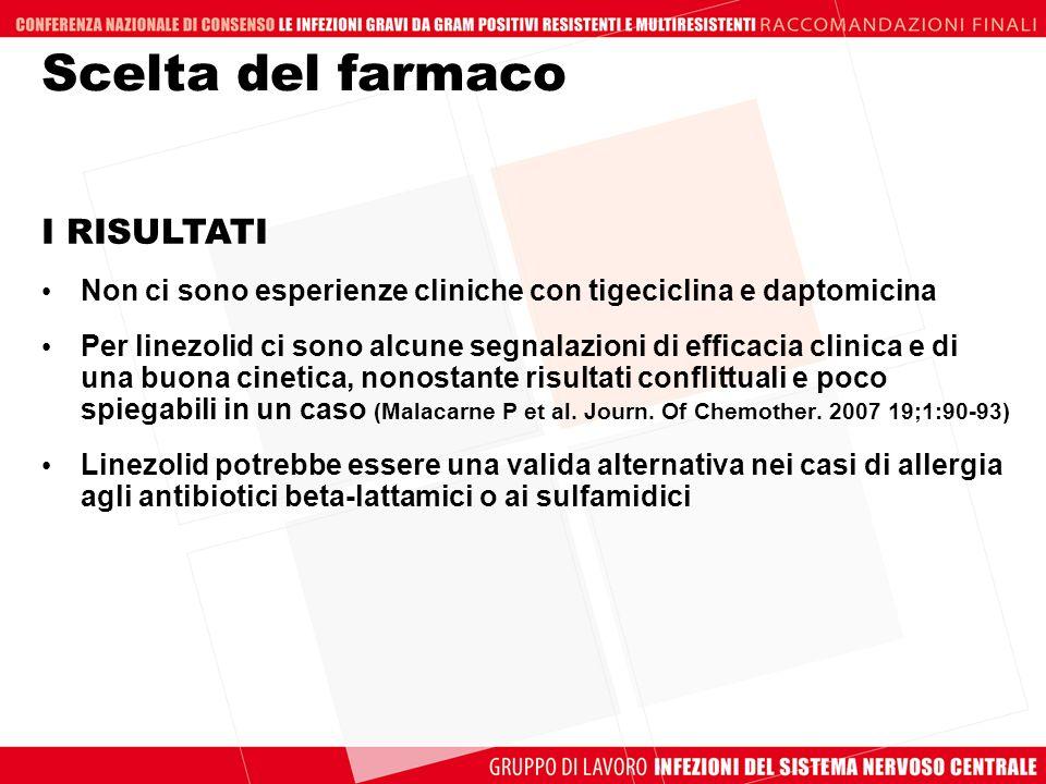 Scelta del farmaco Non ci sono esperienze cliniche con tigeciclina e daptomicina Per linezolid ci sono alcune segnalazioni di efficacia clinica e di u