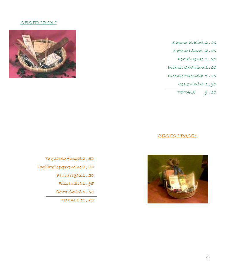 4 Sapone al Kiwi 2, 00 Sapone Lilium 2, 00 Portaincenso 1, 20 Incenso Geranium 1, 00 Incenso Magnolia 1, 00 Cesto vimini 1, 90 TOTALE 9, 10 CESTO PAX