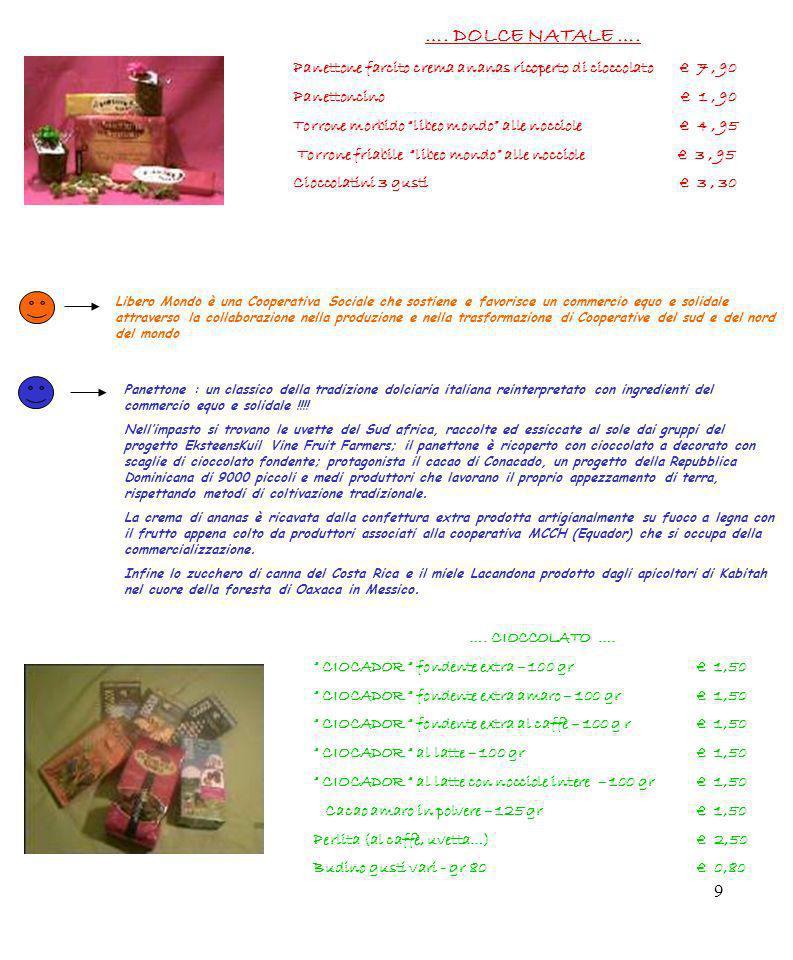 9 …. DOLCE NATALE …. Panettone farcito crema ananas ricoperto di cioccolato 7, 90 Panettoncino 1, 90 Torrone morbido libeo mondo alle nocciole 4, 95 T