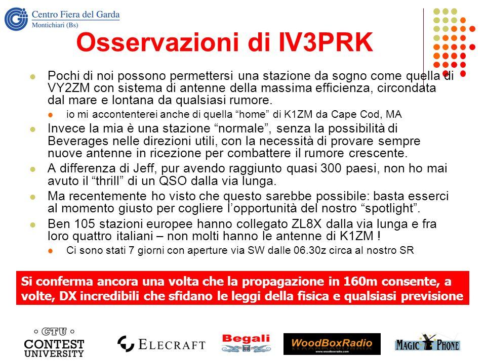 Osservazioni di IV3PRK Pochi di noi possono permettersi una stazione da sogno come quella di VY2ZM con sistema di antenne della massima efficienza, ci