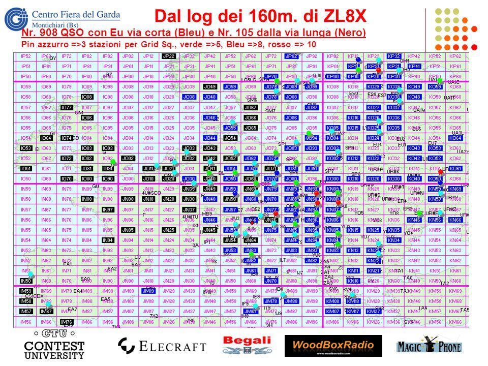Dal log dei 160m. di ZL8X Nr. 908 QSO con Eu via corta (Bleu) e Nr. 105 dalla via lunga (Nero) Pin azzurro =>3 stazioni per Grid Sq., verde =>5, Bleu