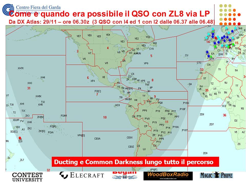 Come e quando era possibile il QSO con ZL8 via LP Da DX Atlas: 29/11 – ore 06.30z (3 QSO con I4 ed 1 con I2 dalle 06.37 alle 06.48) Ducting e Common D