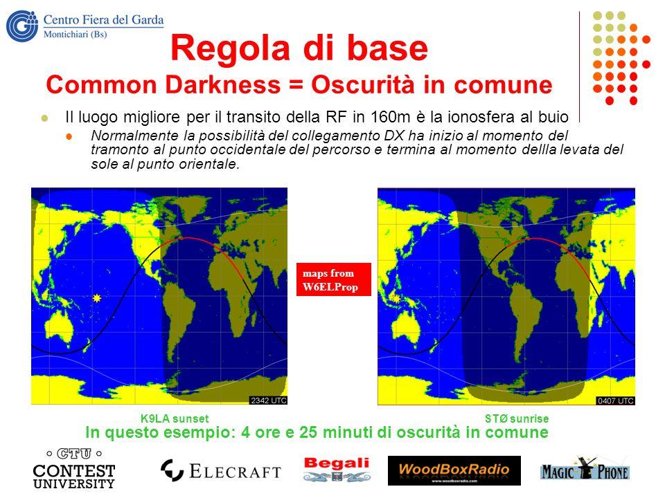 Regola di base Common Darkness = Oscurità in comune Il luogo migliore per il transito della RF in 160m è la ionosfera al buio Normalmente la possibili
