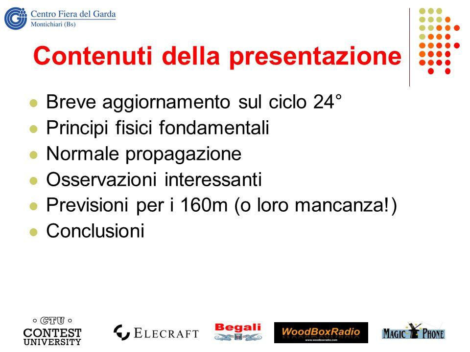 Contenuti della presentazione Breve aggiornamento sul ciclo 24° Principi fisici fondamentali Normale propagazione Osservazioni interessanti Previsioni