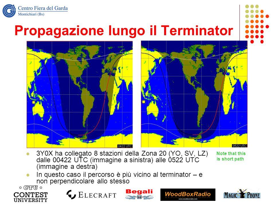 Propagazione lungo il Terminator 3Y0X ha collegato 8 stazioni della Zona 20 (YO, SV, LZ) dalle 00422 UTC (immagine a sinistra) alle 0522 UTC (immagine