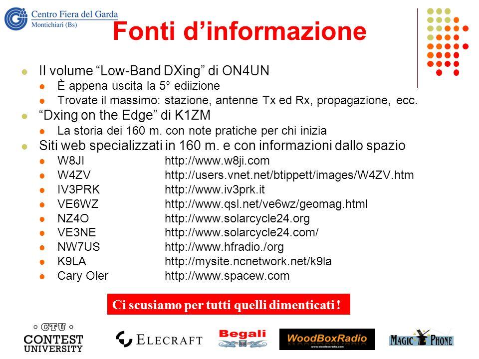Fonti dinformazione Il volume Low-Band DXing di ON4UN È appena uscita la 5° ediizione Trovate il massimo: stazione, antenne Tx ed Rx, propagazione, ec