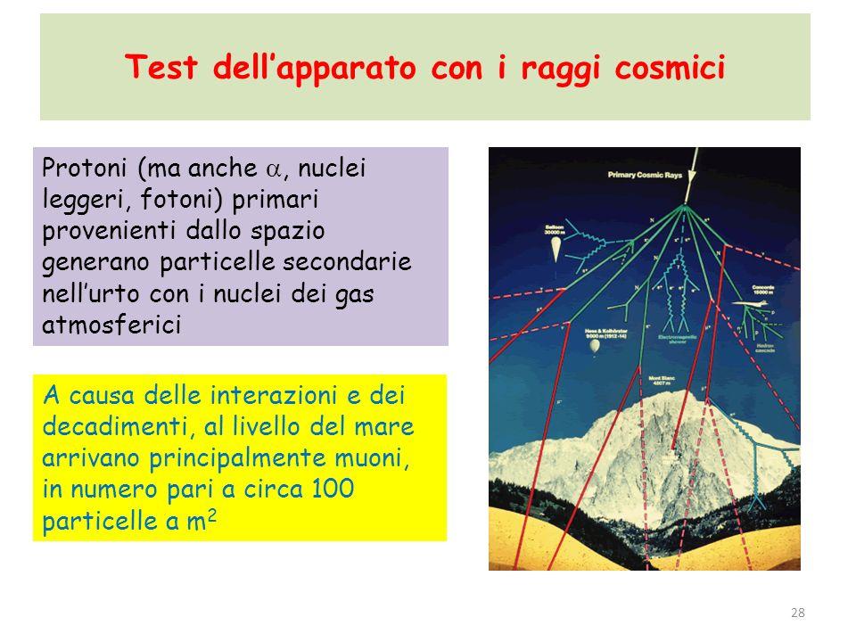 Test dellapparato con i raggi cosmici 28 Protoni (ma anche, nuclei leggeri, fotoni) primari provenienti dallo spazio generano particelle secondarie ne
