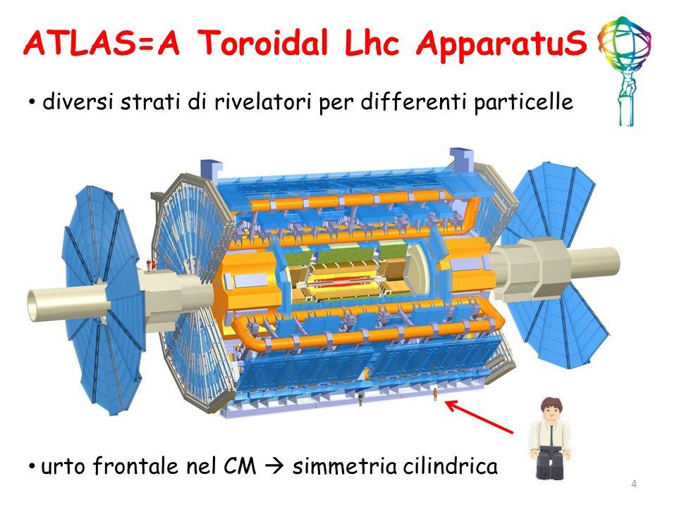 ATLAS=A Toroidal Lhc ApparatuS diversi strati di rivelatori per differenti particelle urto frontale nel CM simmetria cilindrica 4