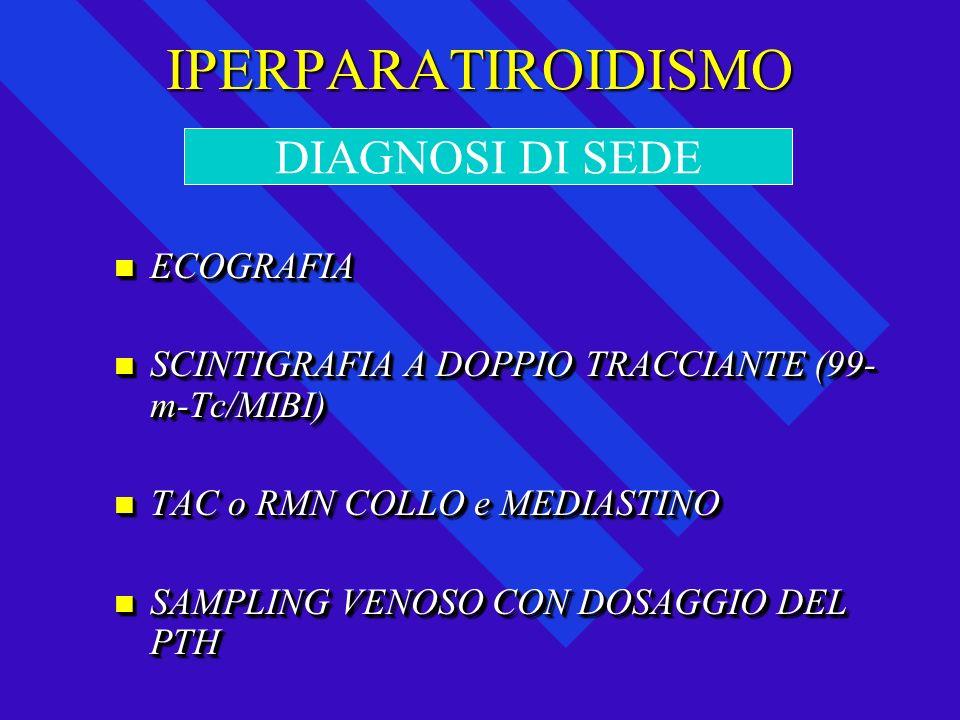 IPERPARATIROIDISMO ECOGRAFIA ECOGRAFIA SCINTIGRAFIA A DOPPIO TRACCIANTE (99- m-Tc/MIBI) SCINTIGRAFIA A DOPPIO TRACCIANTE (99- m-Tc/MIBI) TAC o RMN COL