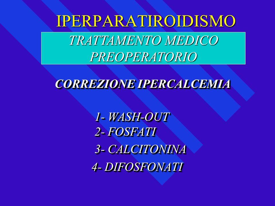 IPERPARATIROIDISMO IPERPARATIROIDISMO CORREZIONE IPERCALCEMIA CORREZIONE IPERCALCEMIA 1- WASH-OUT 1- WASH-OUT 2- FOSFATI 2- FOSFATI 3- CALCITONINA 3-