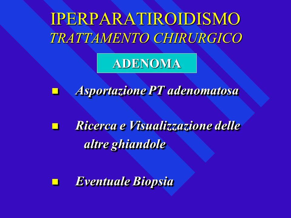 IPERPARATIROIDISMO TRATTAMENTO CHIRURGICO Asportazione PT adenomatosa Asportazione PT adenomatosa Ricerca e Visualizzazione delle Ricerca e Visualizza