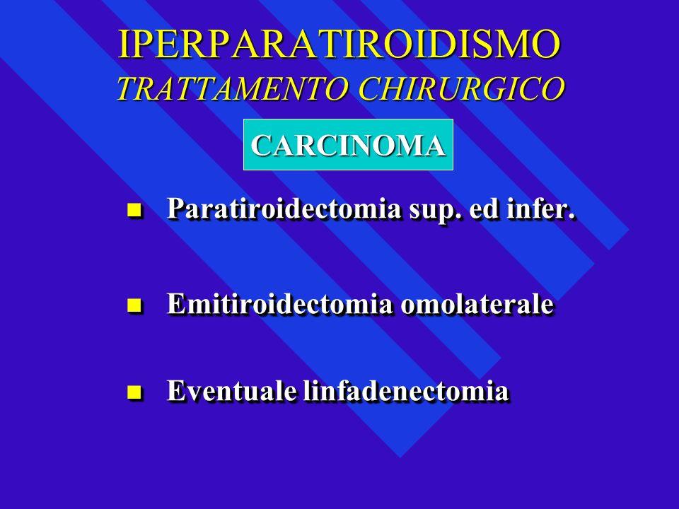 IPERPARATIROIDISMO TRATTAMENTO CHIRURGICO Paratiroidectomia sup. ed infer. Paratiroidectomia sup. ed infer. Emitiroidectomia omolaterale Emitiroidecto