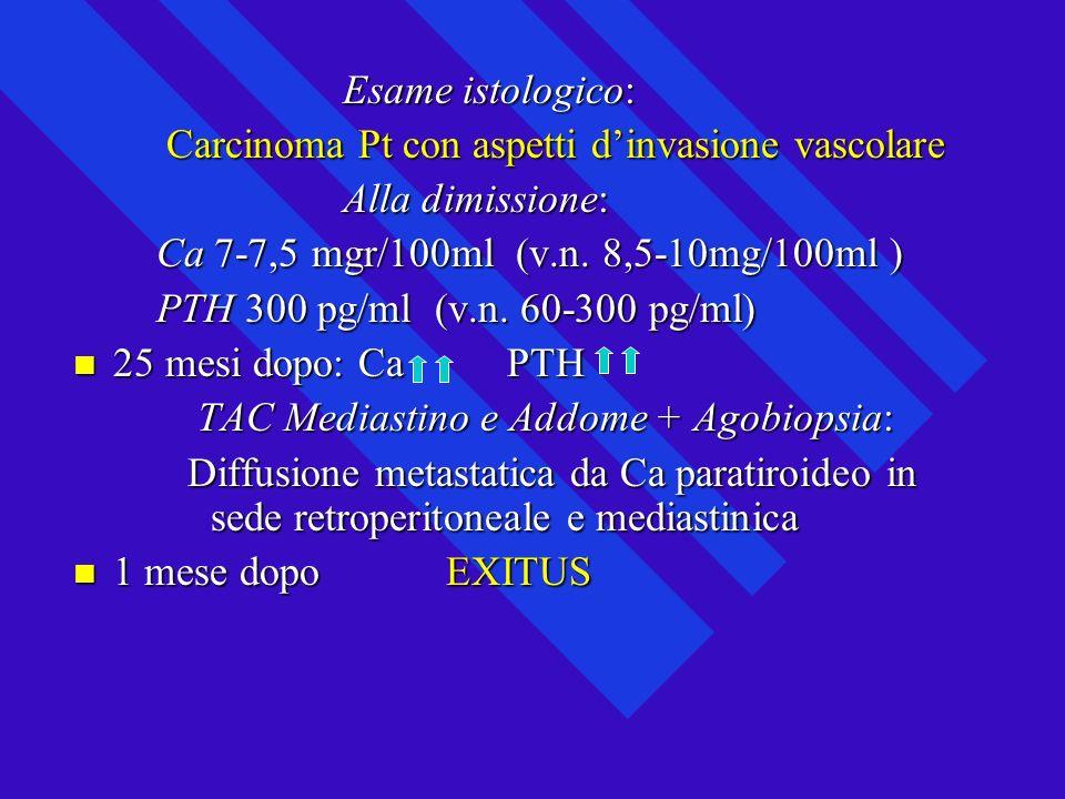 Esame istologico: Esame istologico: Carcinoma Pt con aspetti dinvasione vascolare Carcinoma Pt con aspetti dinvasione vascolare Alla dimissione: Alla