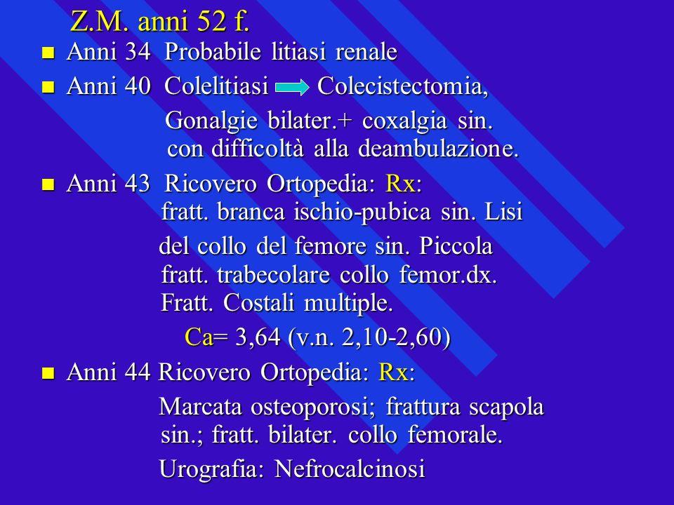 Z.M. anni 52 f. Anni 34 Probabile litiasi renale Anni 34 Probabile litiasi renale Anni 40 Colelitiasi Colecistectomia, Anni 40 Colelitiasi Colecistect