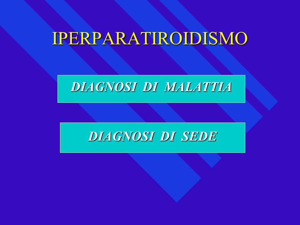 IPERPARATIROIDISMOIPERPARATIROIDISMOCalcemiaCalciuria Fosfaturia Fosforemia PTH DIAGNOSI DI MALATTIA