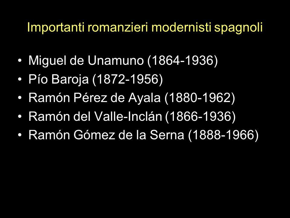 Importanti romanzieri modernisti spagnoli Miguel de Unamuno (1864-1936) Pío Baroja (1872-1956) Ramón Pérez de Ayala (1880-1962) Ramón del Valle-Inclán