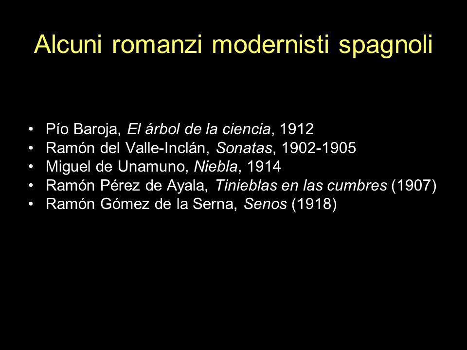 Alcuni romanzi modernisti spagnoli Pío Baroja, El árbol de la ciencia, 1912 Ramón del Valle-Inclán, Sonatas, 1902-1905 Miguel de Unamuno, Niebla, 1914