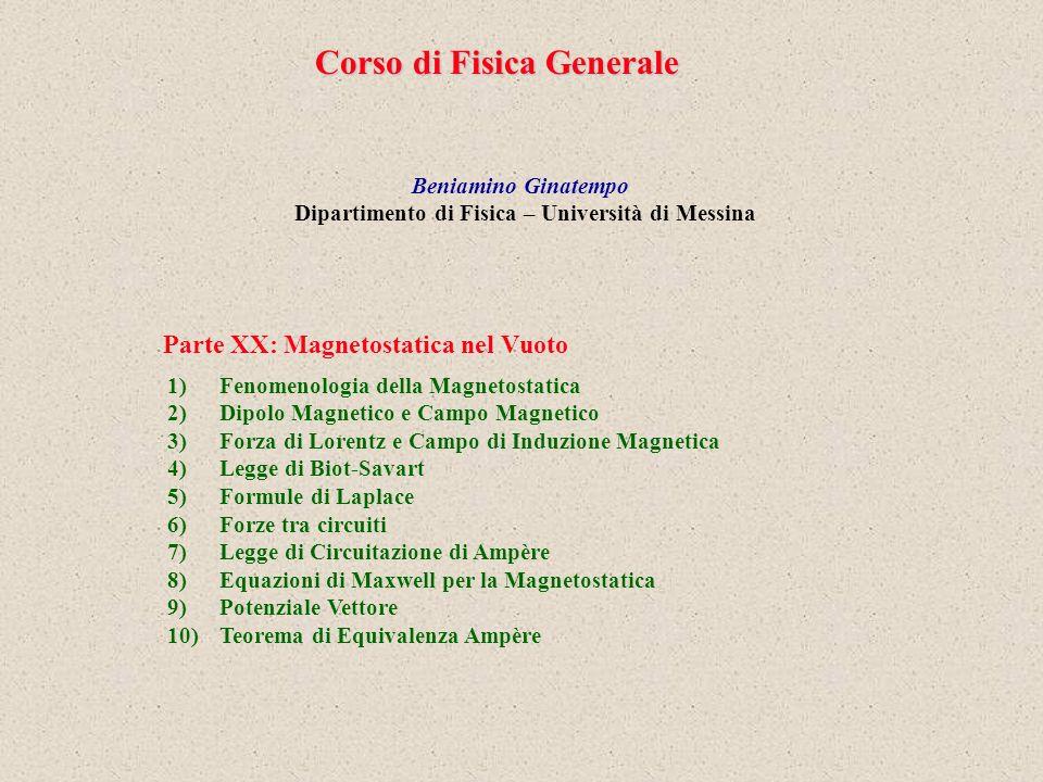 Corso di Fisica Generale Beniamino Ginatempo Dipartimento di Fisica – Università di Messina 1)Fenomenologia della Magnetostatica 2)Dipolo Magnetico e