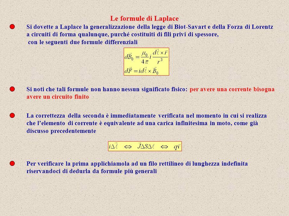 Si dovette a Laplace la generalizzazione della legge di Biot-Savart e della Forza di Lorentz a circuiti di forma qualunque, purché costituiti di fili