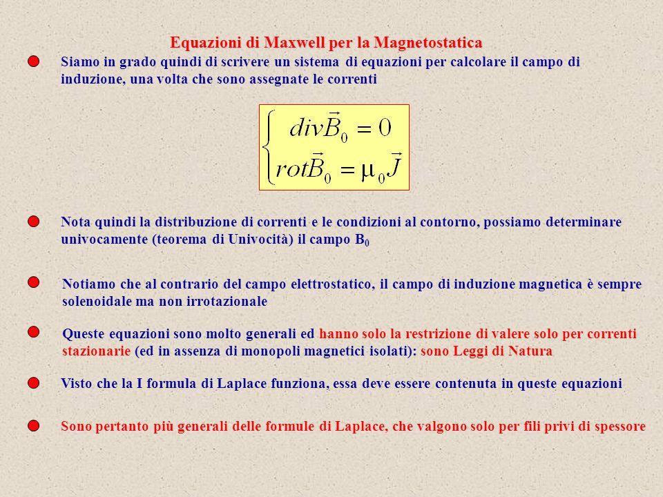 Siamo in grado quindi di scrivere un sistema di equazioni per calcolare il campo di induzione, una volta che sono assegnate le correnti Nota quindi la