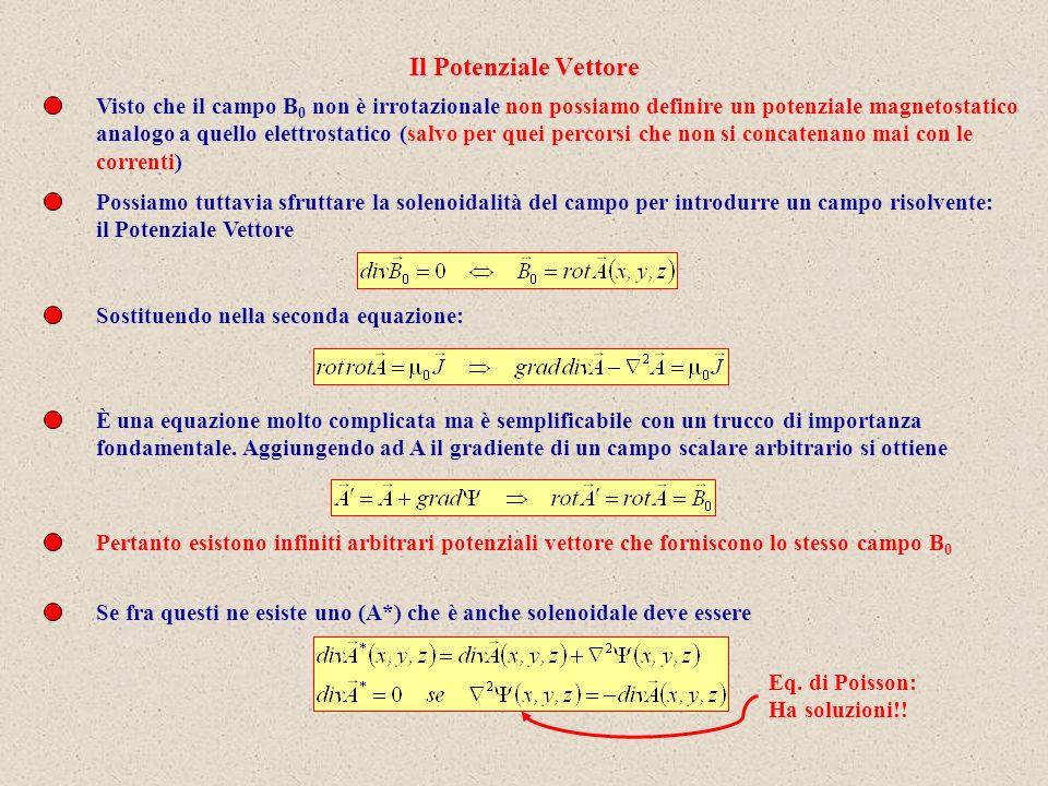 Visto che il campo B 0 non è irrotazionale non possiamo definire un potenziale magnetostatico analogo a quello elettrostatico (salvo per quei percorsi