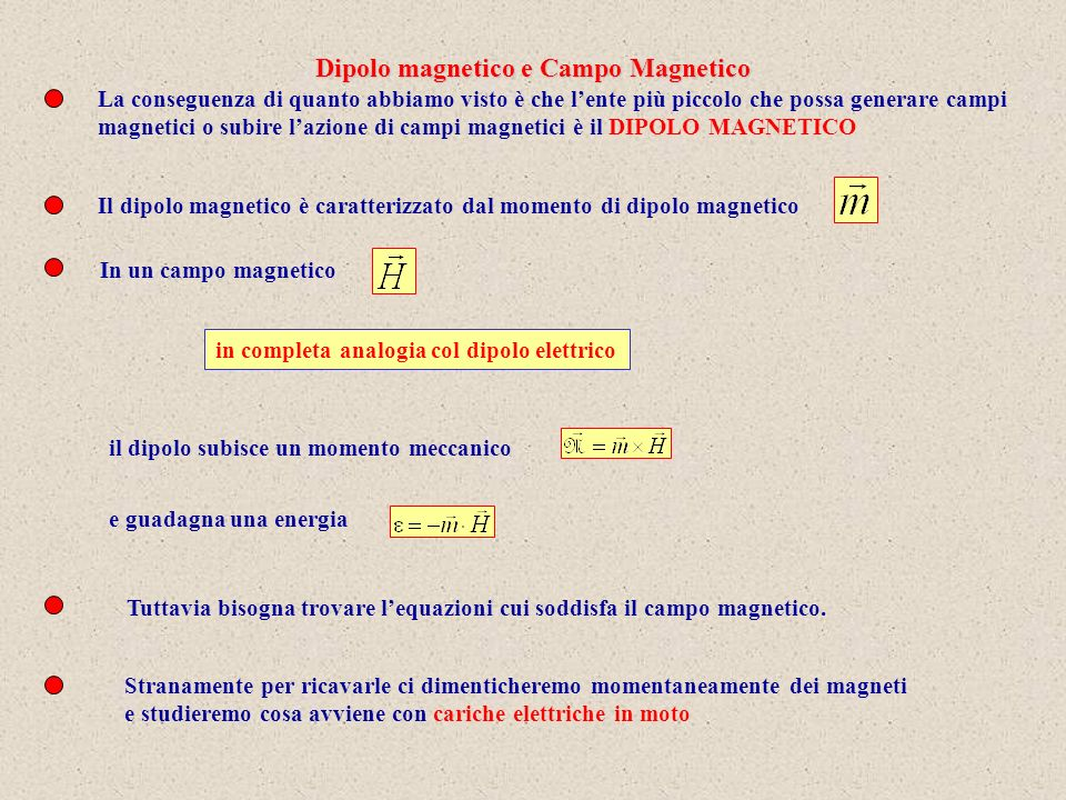 Sulla base delle considerazioni fatte per i dipoli magnetici, un ago magnetico il cui momento sia m, e sia orientato come il versore n perpendicolare al piano della spira, immerso in un campo magnetico H, esso ruoterà sotto lazione di un momento meccanico pari a Confrontando con il precedente risultato e definendo Possiamo dire che una spira elettrica ruota sotto lazione di un campo magnetico H, come se fosse un ago magnetico di momento di dipolo magnetico dato da Questo è un risultato fondamentale: abbiamo capito che è possibile associare ad un circuito percorso da corrente un momento di dipolo magnetico.