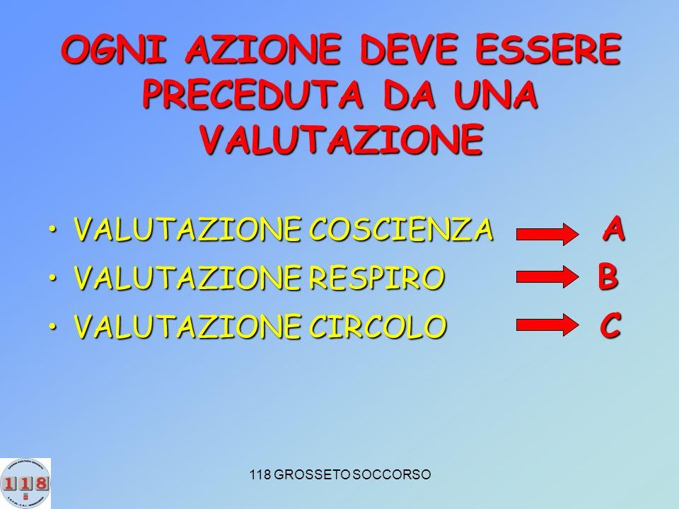 118 GROSSETO SOCCORSO OGNI AZIONE DEVE ESSERE PRECEDUTA DA UNA VALUTAZIONE VALUTAZIONE COSCIENZA AVALUTAZIONE COSCIENZA A VALUTAZIONE RESPIRO BVALUTAZIONE RESPIRO B VALUTAZIONE CIRCOLO CVALUTAZIONE CIRCOLO C