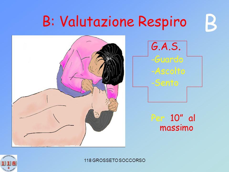 118 GROSSETO SOCCORSO B: Valutazione Respiro G.A.S. -Guardo -Ascolto -Sento Per 10 al massimo B