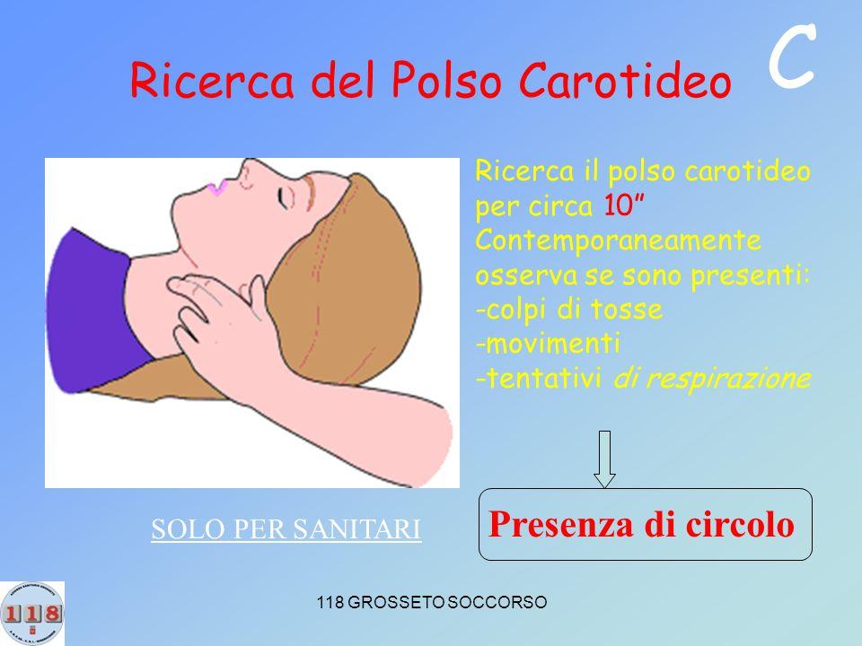 118 GROSSETO SOCCORSO Ricerca del Polso Carotideo Ricerca il polso carotideo per circa 10 Contemporaneamente osserva se sono presenti: -colpi di tosse -movimenti -tentativi di respirazione Presenza di circolo SOLO PER SANITARI C
