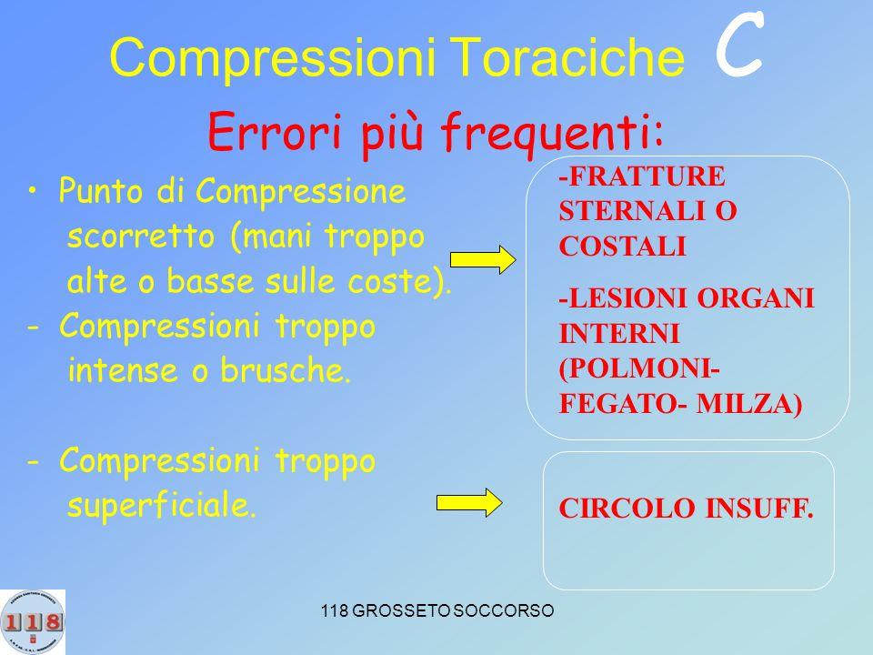118 GROSSETO SOCCORSO Compressioni Toraciche C Errori più frequenti: Punto di Compressione scorretto (mani troppo alte o basse sulle coste).