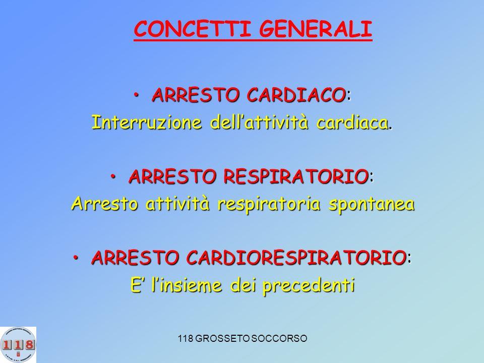 118 GROSSETO SOCCORSO ARRESTO CARDIACO:ARRESTO CARDIACO: Interruzione dellattività cardiaca.