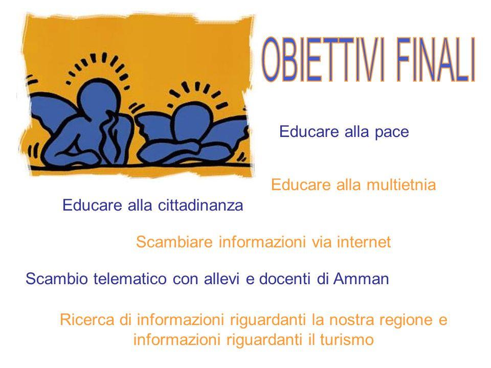 Educare alla pace Educare alla multietnia Educare alla cittadinanza Scambiare informazioni via internet Scambio telematico con allevi e docenti di Amm