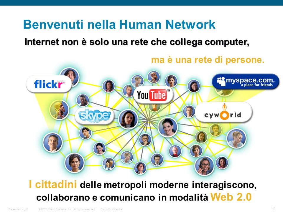 © 2007 Cisco Systems, Inc. All rights reserved.Cisco Confidential 2 Presentation_ID Benvenuti nella Human Network Internet non è solo una rete che col
