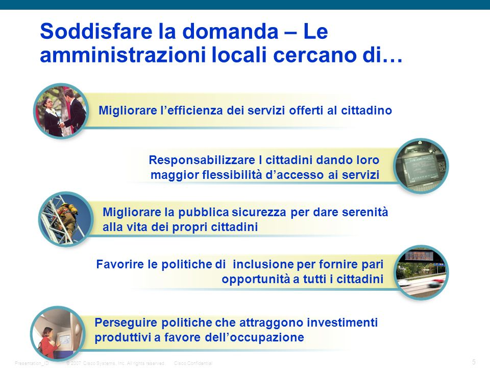 © 2007 Cisco Systems, Inc. All rights reserved.Cisco Confidential 5 Presentation_ID Soddisfare la domanda – Le amministrazioni locali cercano di… Migl