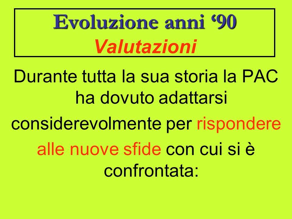Evoluzioneanni 90 Evoluzione anni 90 Valutazioni Durante tutta la sua storia la PAC ha dovuto adattarsi considerevolmente per rispondere alle nuove sfide con cui si è confrontata: