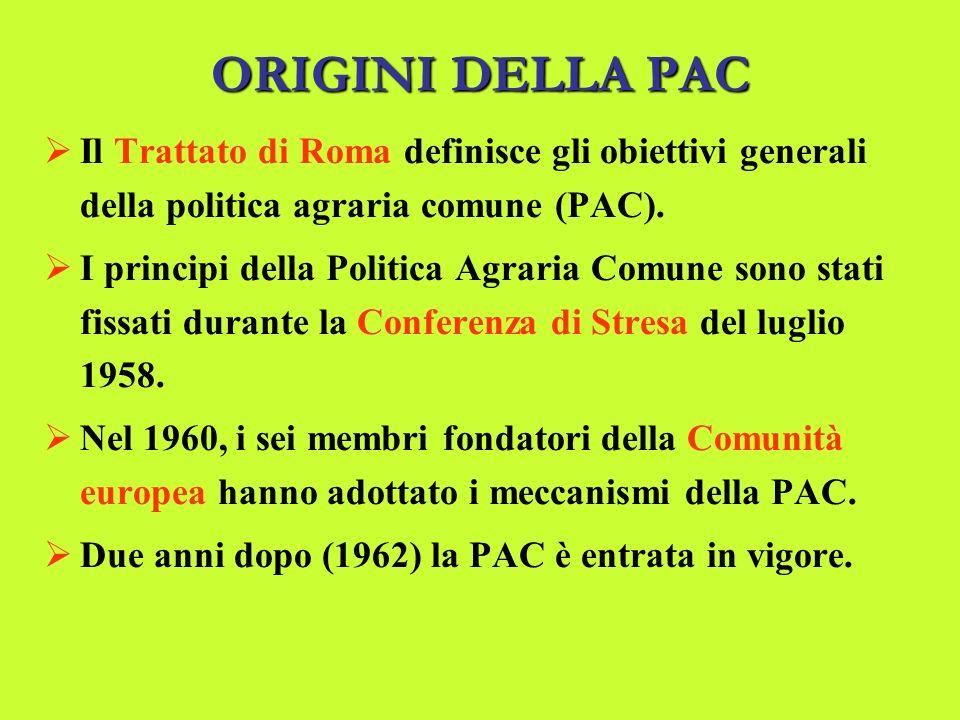 ORIGINI DELLA PAC Il Trattato di Roma definisce gli obiettivi generali della politica agraria comune (PAC).