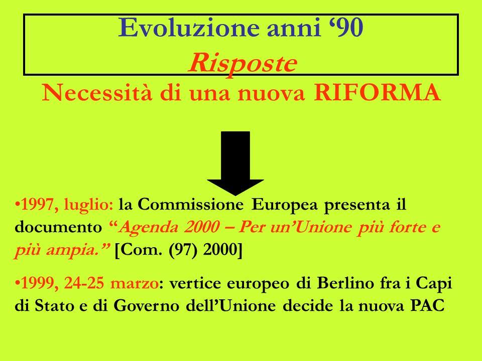 Evoluzione anni 90 Risposte Necessità di una nuova RIFORMA 1997, luglio: la Commissione Europea presenta il documento Agenda 2000 – Per unUnione più forte e più ampia.