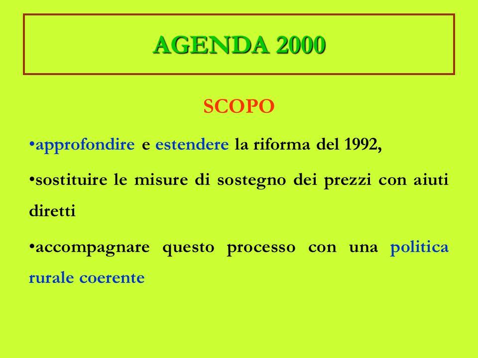 AGENDA 2000 SCOPO approfondire e estendere la riforma del 1992, sostituire le misure di sostegno dei prezzi con aiuti diretti accompagnare questo processo con una politica rurale coerente