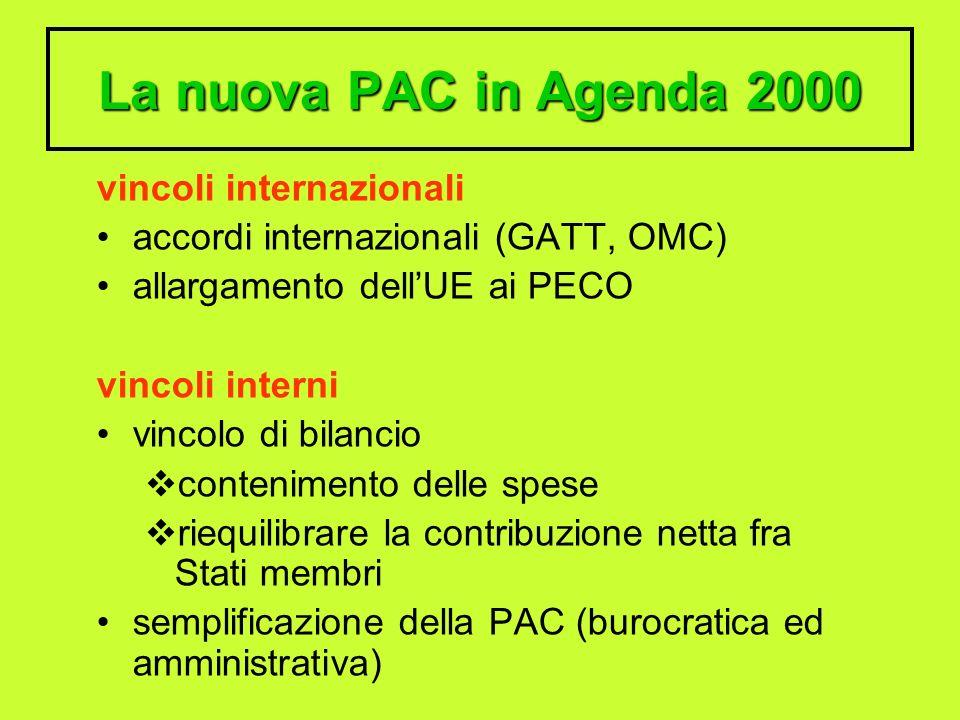 La nuova PAC in Agenda 2000 vincoli internazionali accordi internazionali (GATT, OMC) allargamento dellUE ai PECO vincoli interni vincolo di bilancio contenimento delle spese riequilibrare la contribuzione netta fra Stati membri semplificazione della PAC (burocratica ed amministrativa)