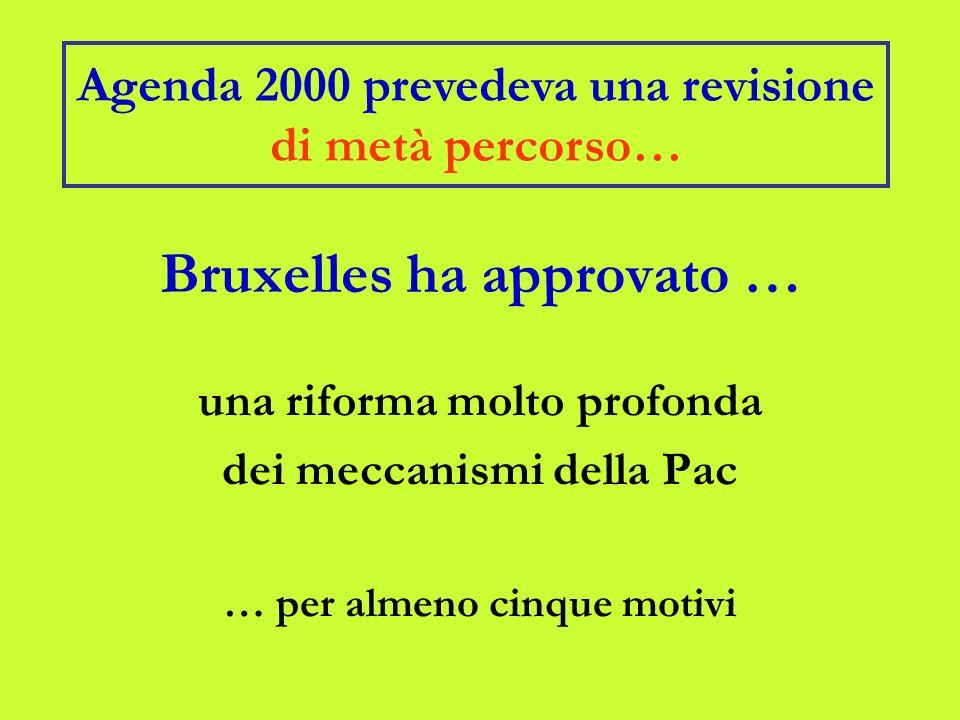 Bruxelles ha approvato … una riforma molto profonda dei meccanismi della Pac … per almeno cinque motivi Agenda 2000 prevedeva una revisione di metà percorso…