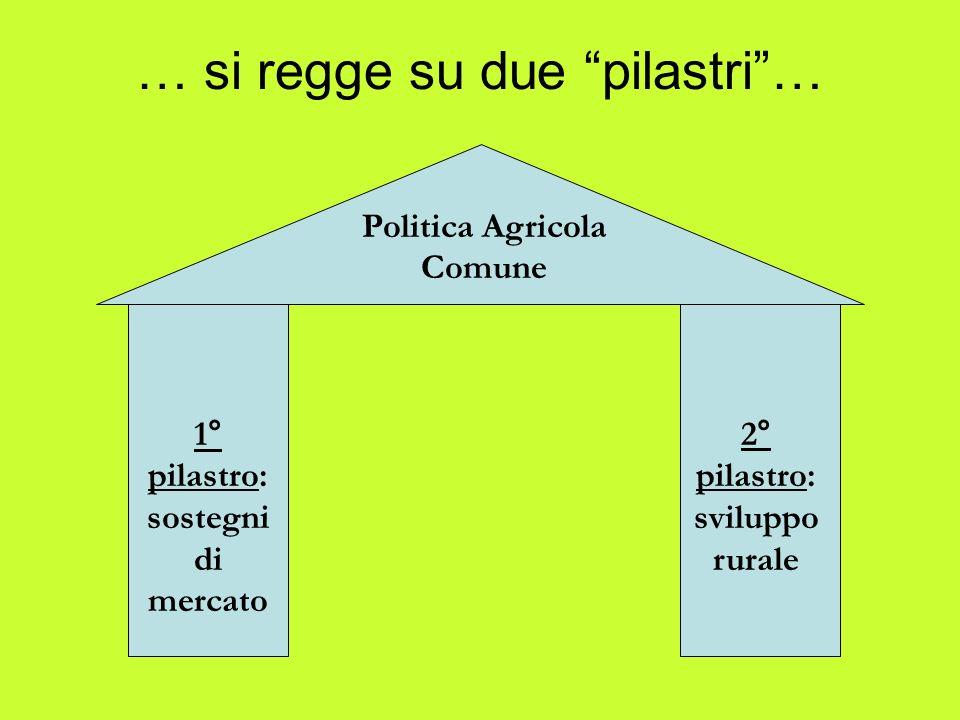 … si regge su due pilastri… Politica Agricola Comune 1° pilastro: sostegni di mercato 2° pilastro: sviluppo rurale