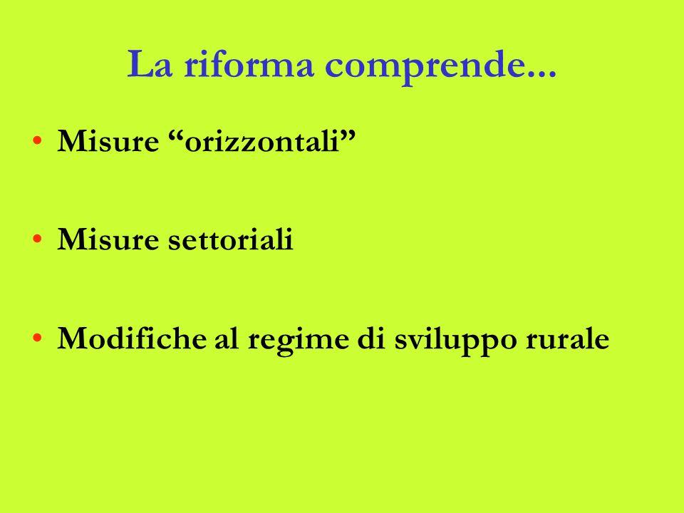 La riforma comprende... Misure orizzontali Misure settoriali Modifiche al regime di sviluppo rurale