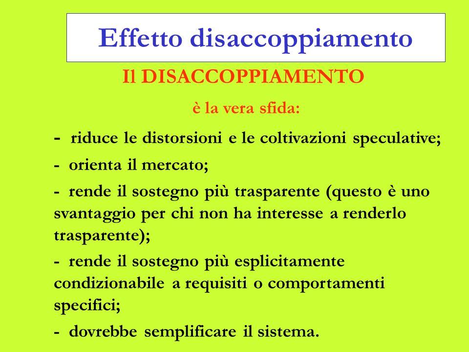 Effetto disaccoppiamento Il DISACCOPPIAMENTO è la vera sfida: - riduce le distorsioni e le coltivazioni speculative; - orienta il mercato; - rende il sostegno più trasparente (questo è uno svantaggio per chi non ha interesse a renderlo trasparente); - rende il sostegno più esplicitamente condizionabile a requisiti o comportamenti specifici; - dovrebbe semplificare il sistema.