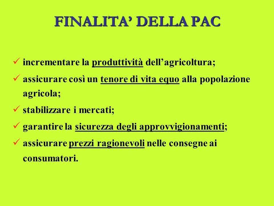 FINALITA DELLAPAC FINALITA DELLA PAC incrementare la produttività dellagricoltura; assicurare così un tenore di vita equo alla popolazione agricola; stabilizzare i mercati; garantire la sicurezza degli approvvigionamenti; assicurare prezzi ragionevoli nelle consegne ai consumatori.