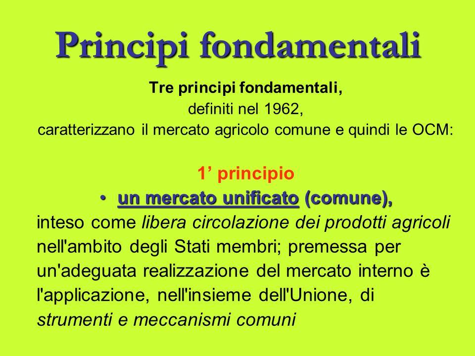 Principifondamentali Principi fondamentali Tre principi fondamentali, definiti nel 1962, caratterizzano il mercato agricolo comune e quindi le OCM: 1 principio un mercato unificato (comune),un mercato unificato (comune), inteso come libera circolazione dei prodotti agricoli nell ambito degli Stati membri; premessa per un adeguata realizzazione del mercato interno è l applicazione, nell insieme dell Unione, di strumenti e meccanismi comuni
