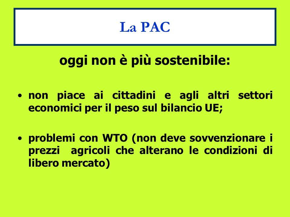 La PAC oggi non è più sostenibile: non piace ai cittadini e agli altri settori economici per il peso sul bilancio UE; problemi con WTO (non deve sovvenzionare i prezzi agricoli che alterano le condizioni di libero mercato)