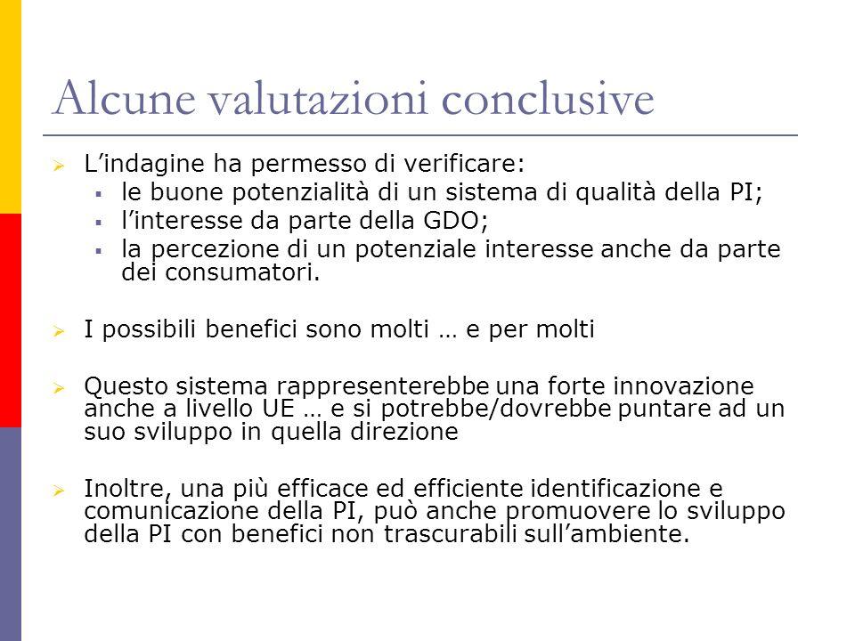 Alcune valutazioni conclusive Lindagine ha permesso di verificare: le buone potenzialità di un sistema di qualità della PI; linteresse da parte della GDO; la percezione di un potenziale interesse anche da parte dei consumatori.