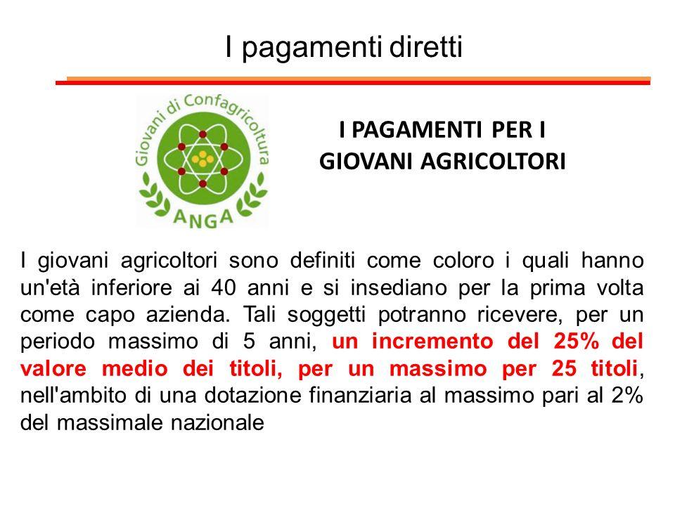 I PAGAMENTI PER I GIOVANI AGRICOLTORI I giovani agricoltori sono definiti come coloro i quali hanno un'età inferiore ai 40 anni e si insediano per la